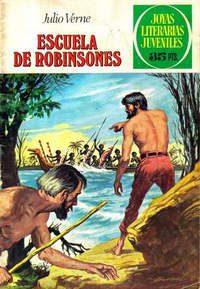 Portada «Escuela de Robinsones», Julio Verne. Joyas literarias juveniles.