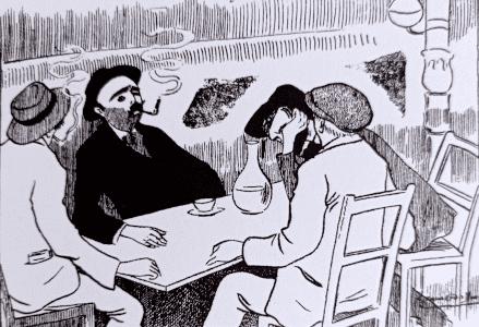 Carrère junto a unos amigos en un café (Madrid Cómico, 23 de diciembre de 1911)